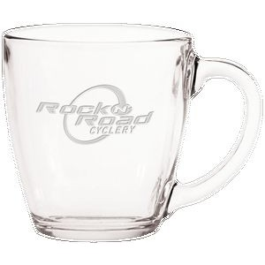 15.5 Oz. Glass Bistro Coffee Mug - Etched