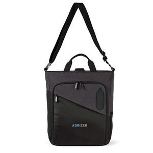 Life in Motion® Linked Charging Computer Tote - Black-Dark Grey Heather
