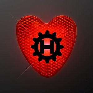 Custom Printed LED Blinking Red Heart Clip - Domestic Imprint