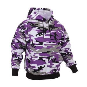 Adult Ultra Violet Camo Pullover Hooded Sweatshirt (2X-Large)
