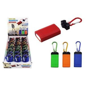COB LED Magnetic Keychains with Carabiners - Assorted Colors (Case of