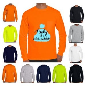 100% Cotton Long Sleeve Winter T-Shirt 6.1 oz with Pocket